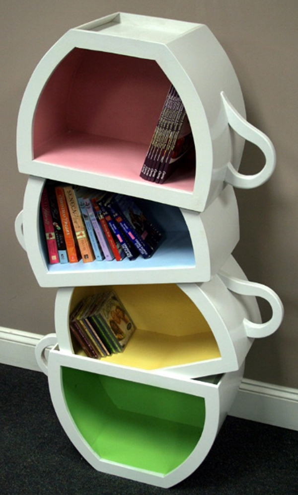 Creative Kids Bookshelf Design With Stacked Teacup