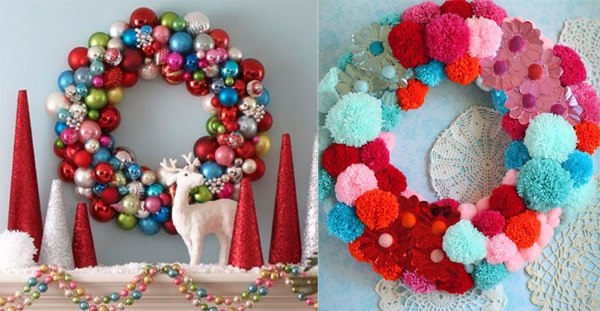 gorgeous and colorful christmas wreath for room decorations