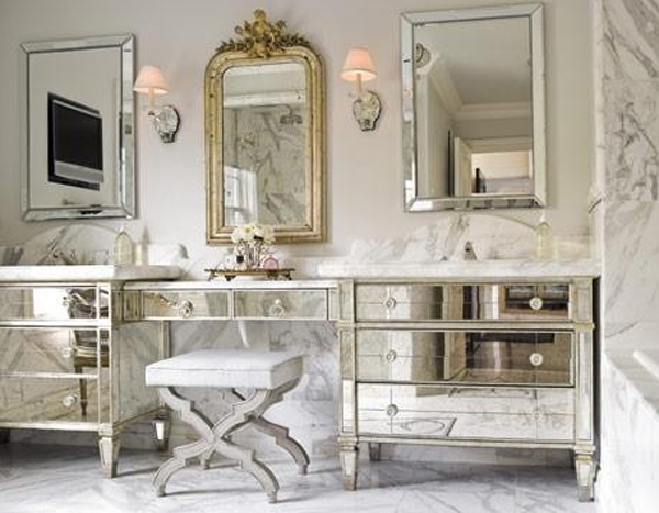 Antique Mirrored Desk