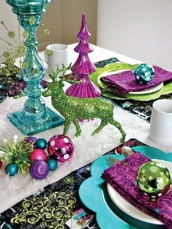 Blue Table Setting For Christmas Decorations