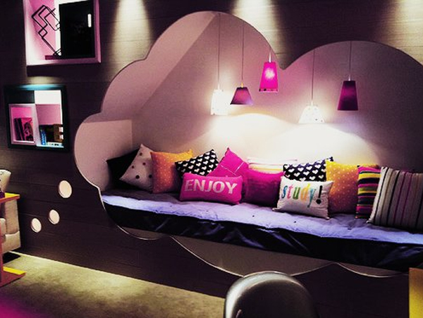 stylish girl bedroom design with pink lighting - Stylish Bedroom Design