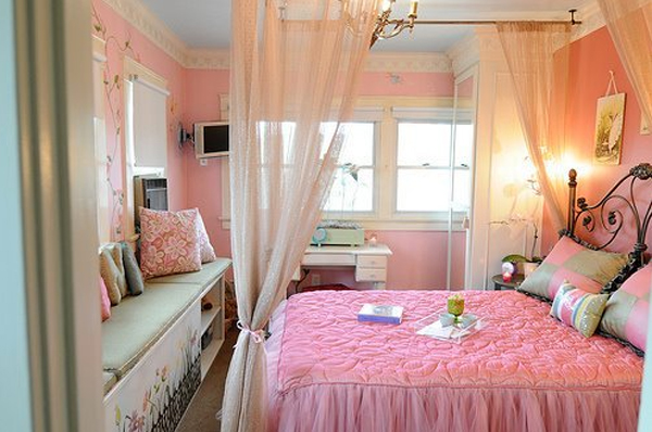 Stylish girl bedroom decorating with pink color for Interior design bedroom pink