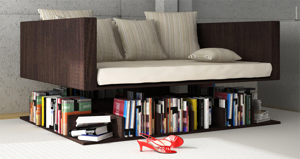 Unique floating sofa design with mini library by younes for Mini library at home