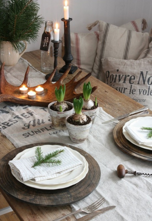 Wood christmas table setting ideas Christmas place setting ideas