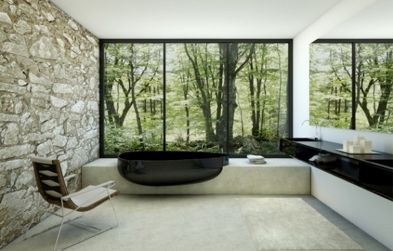 balck-bathroom-with-glass-beyond-bathtub-by-danelon-meroni