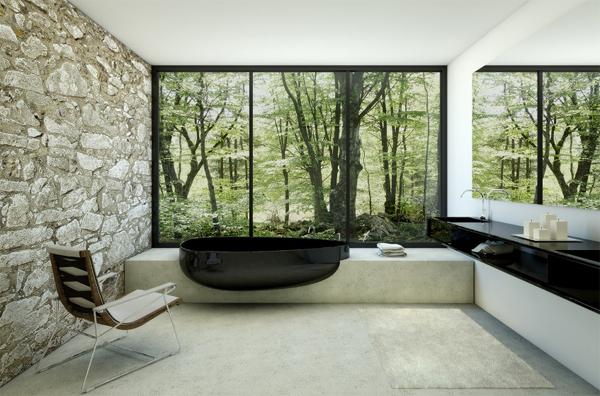 Balck Bathroom With Glass Beyond Bathtub By Danelon Meroni