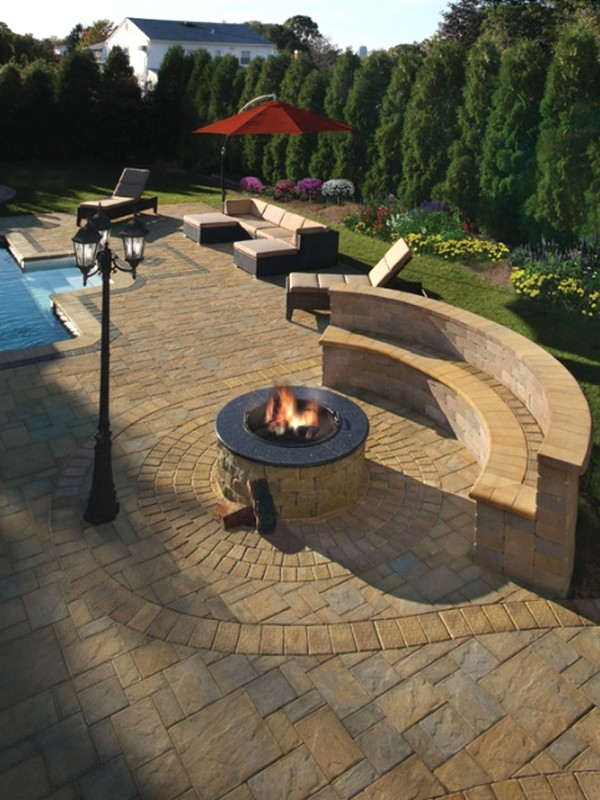 Comfortable and modern outdoor furniture with backyard pool for Pool and firepit design