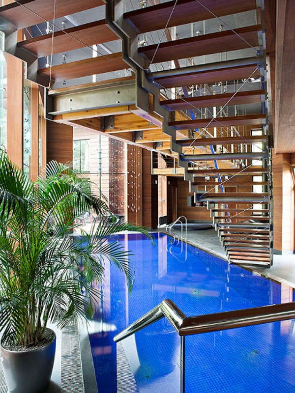 Contemporary homes with indoor swimming pool design for Modern house designs with indoor pool