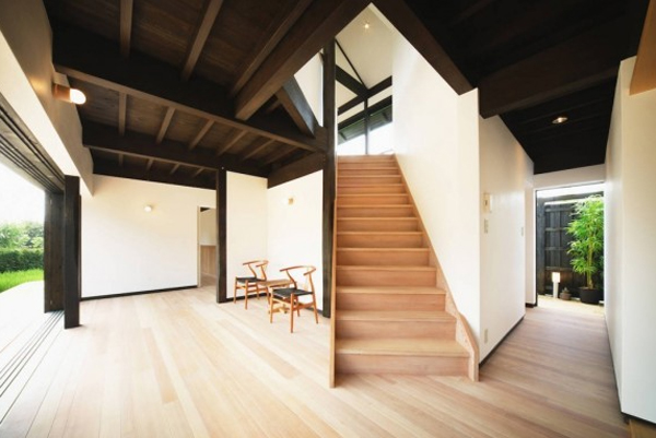 traditional japanese house with wooden stair