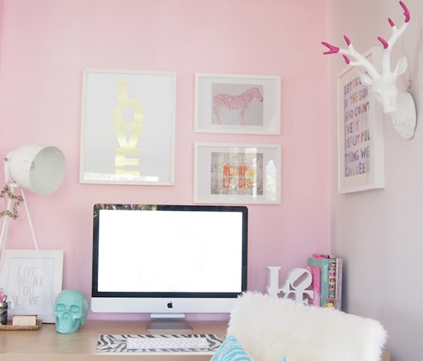Marvelous 17 Pink Office Ideas Cute Space For Girl Home Design And Interior Largest Home Design Picture Inspirations Pitcheantrous