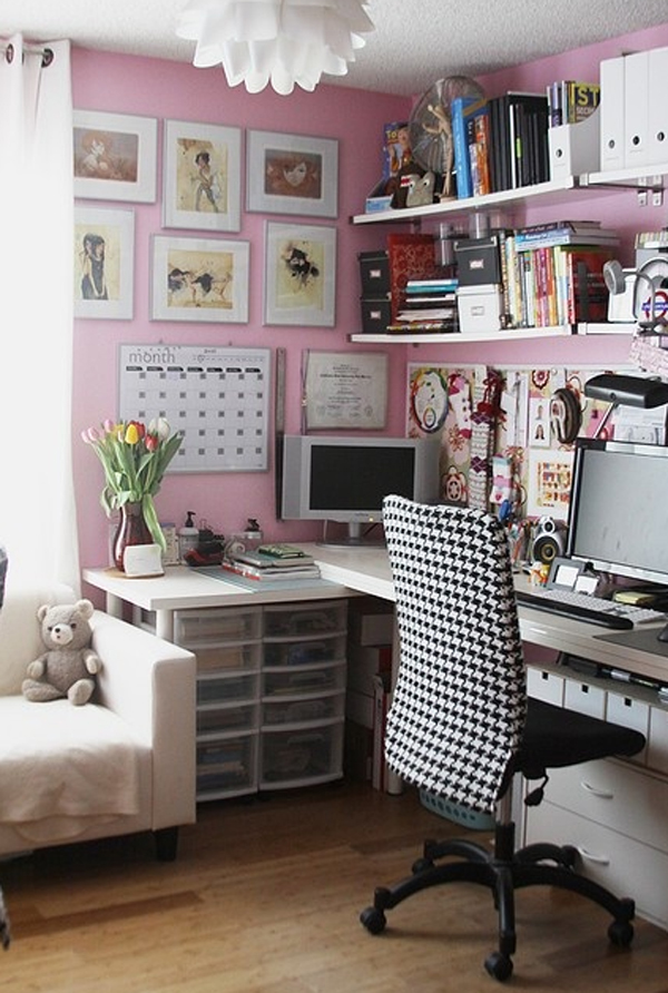 17 pink office ideas cute space for girl home design for Cute house decor