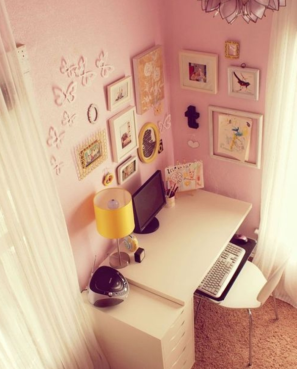Brilliant 17 Pink Office Ideas Cute Space For Girl Home Design And Interior Largest Home Design Picture Inspirations Pitcheantrous