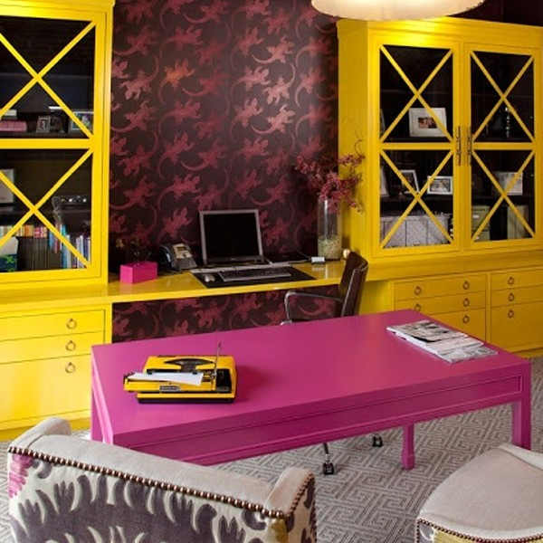 17 small home office ideas for girl for Office design yellow