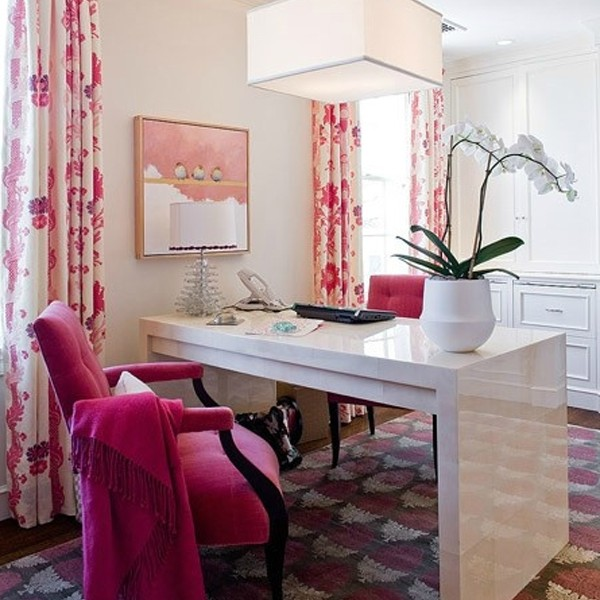 Fortable And Cute Home Office Design Ideas: 17-pink-office-room-design-for-girl
