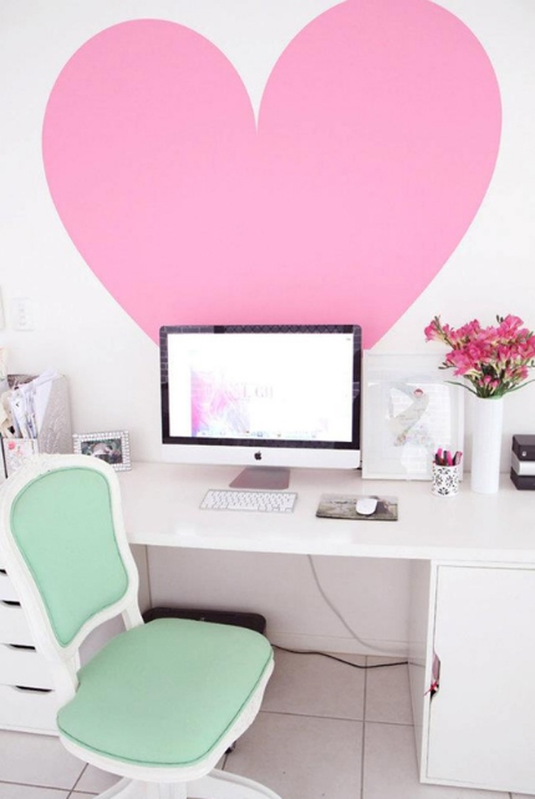 17 White And Pink Office Ideas For Girl