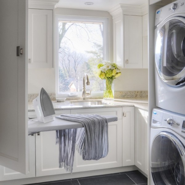 20 small laundry room decorations with small space ideas for Small laundry design