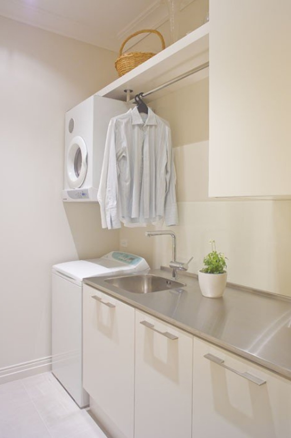 20 small laundry room decor with small space solutions for Small laundry design