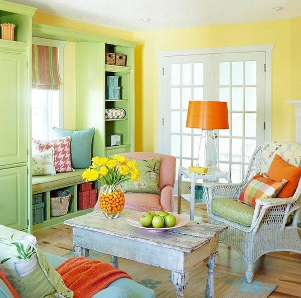 Spring Home Decor Design Ideas: Chic-and-colorful-spring-living-room-ideas