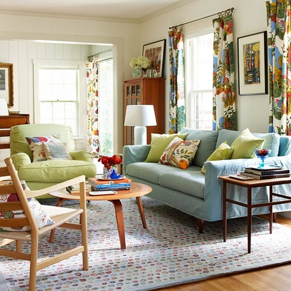 Chic and colorful spring living room ideas for Colorful living room design ideas