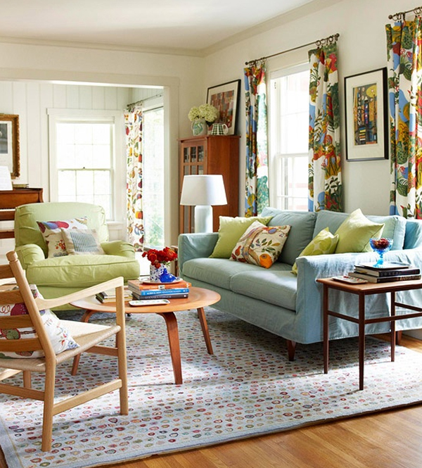 Chic and colorful living room ideas for spring for Decorating ideas for apartments living room