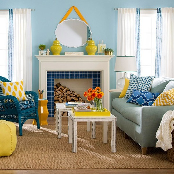 Chic And Colorful Spring Living Room Ideas