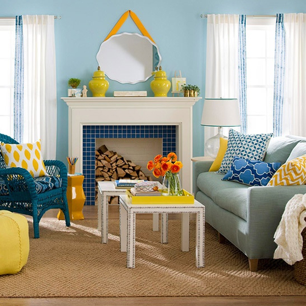 Chic and colorful spring living room decorations for Living room ideas yellow and blue