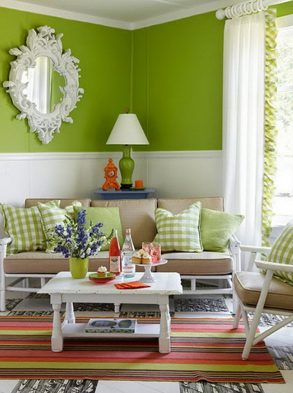 Chic and colorful spring living room with green themes for Living room designs green