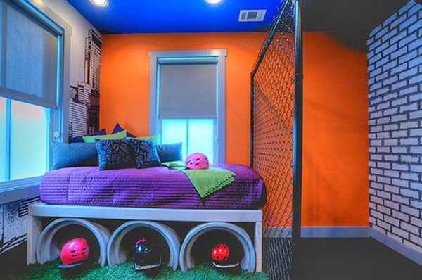 Cool kids bedroom ideas with graffiti theme for Funky bedroom ideas