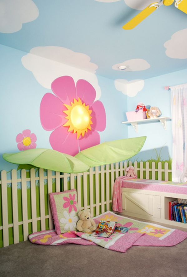 Cute girl bedroom ideas with flower theme for Children bedroom designs girls