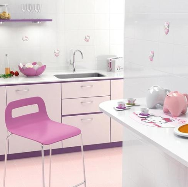 Cute kitchen decor with hello kitty ideas for Kitchen decoration pink