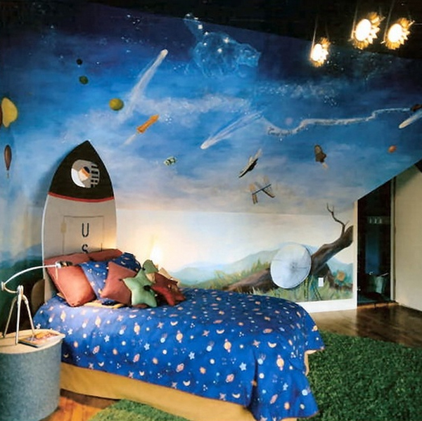 Cool kids bedroom theme with beach ideas for Outer space decor