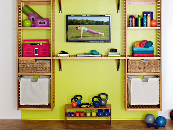 Wonderful Home Gym Ideas With Wall Tv Stands