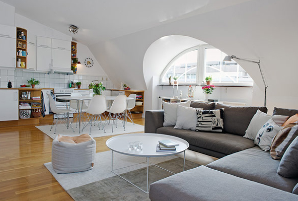 superb living room in home attic design | Attic Apartments With Futuristic Shelving In Sweden | Home ...