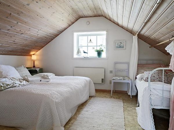 Attic master bedrooms with scandinavian design for Small attic bedroom designs