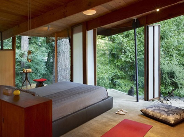 Bedrooms with a view of nature home design and interior Nature bedroom