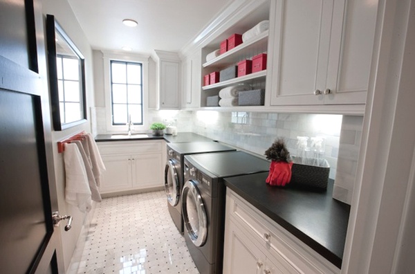 black and white laundry room cabinets 10 Black and White Laundry Room Design Ideas