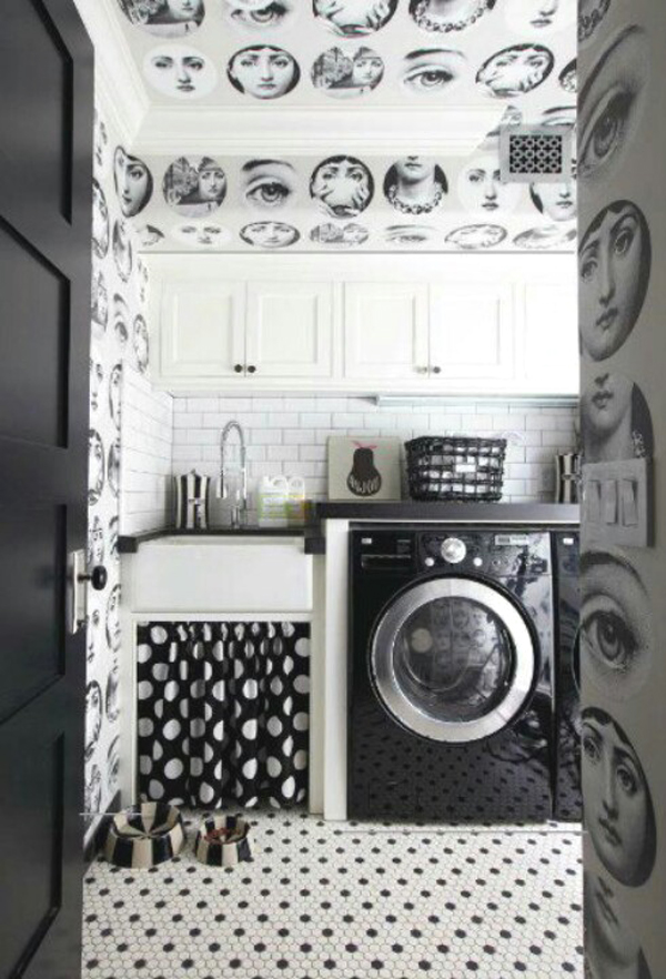 black and white laundry room design ideas 10 Black and White Laundry Room Design Ideas