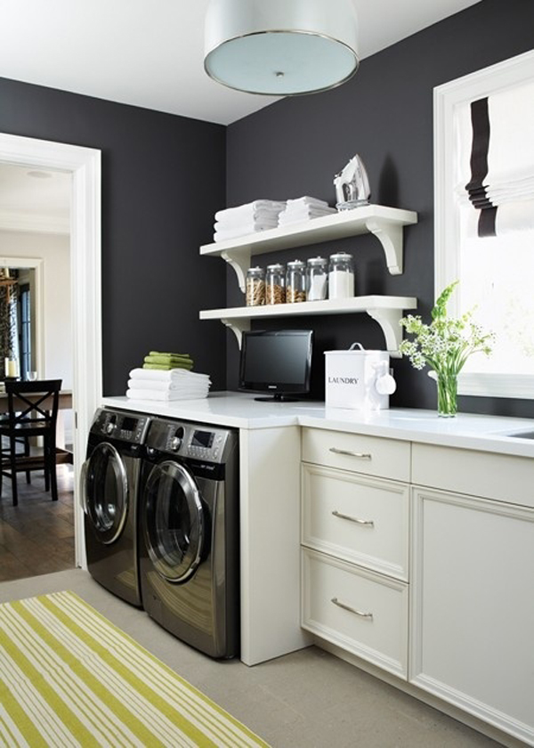 black and white laundry room furniture 10 Black and White Laundry Room Design Ideas