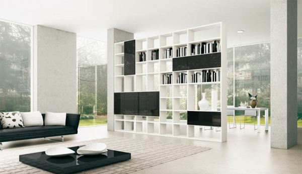 black and white with shelves unit Modern Living Rooms with Shelving Storage Units
