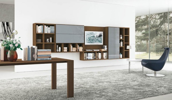 brown living rooms with shelving storage unit Modern Living Rooms with Shelving Storage Units