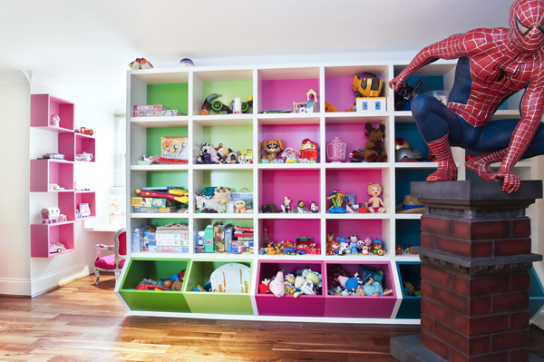 colorful playroom storage ideas