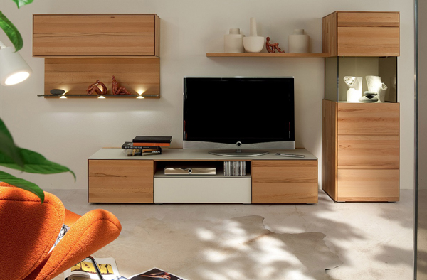 Tv stand furniture with wooden wall unit by hulsta home Wall tv console design