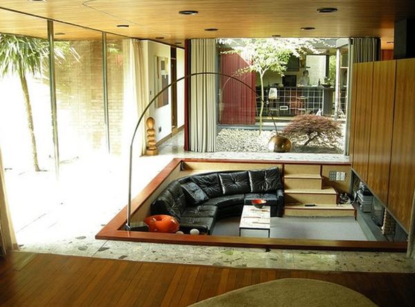 Conversation and Comfy Sunken Living Room Design ...