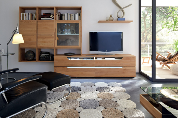 Tv stand furniture with wooden wall unit by hulsta home Interior design tv wall units