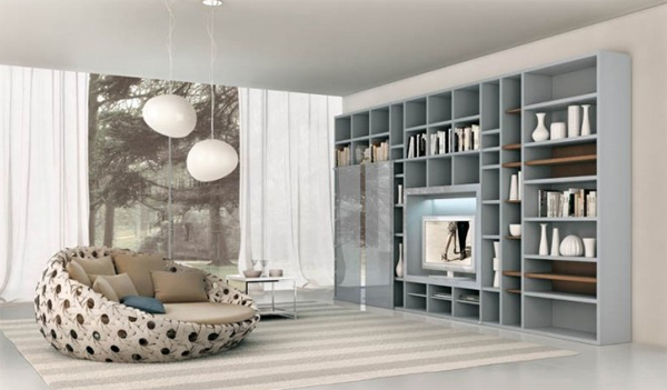 modern blue living room with shelving storage units Modern Living Rooms with Shelving Storage Units