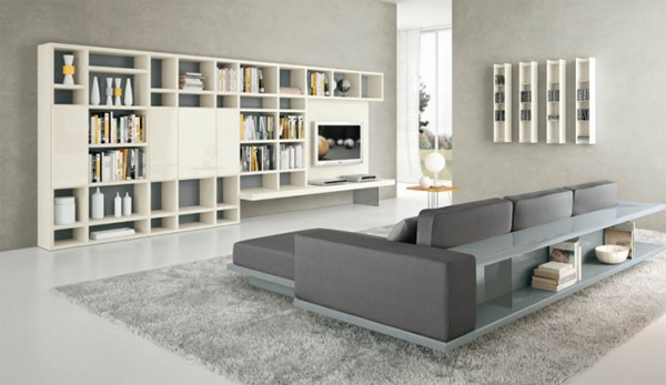 Modern living room design with grey furniture for Modern living room shelving units