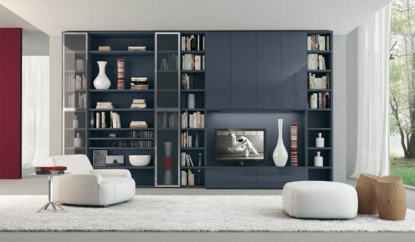modern living room design with grey shelving Modern Living Rooms with Shelving Storage Units