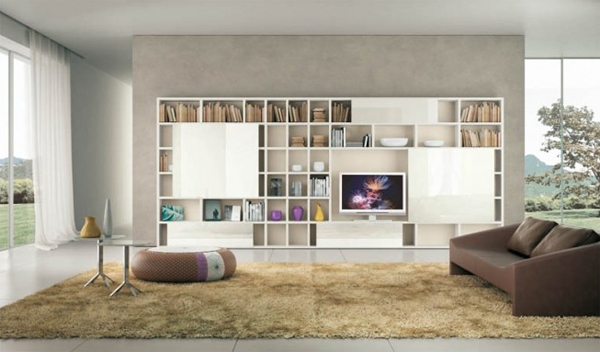 Modern living room ideas with brown shelving for Living room shelves