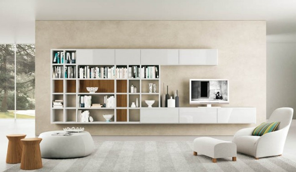 modern living room with shelves cream Modern Living Rooms with Shelving Storage Units