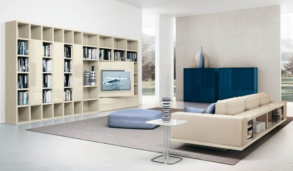modern living room with storage shelving Modern Living Rooms with Shelving Storage Units